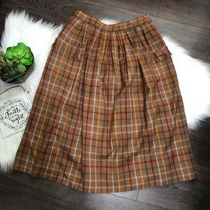 Vintage Paula Saker Wool Plaid Midi Skirt Sz 12